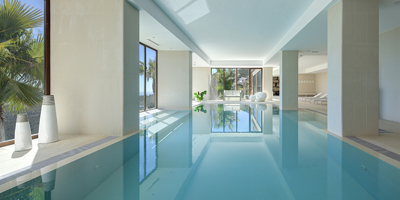 Indoor salt water pool at Benahavis Hills Country Club spa facilities