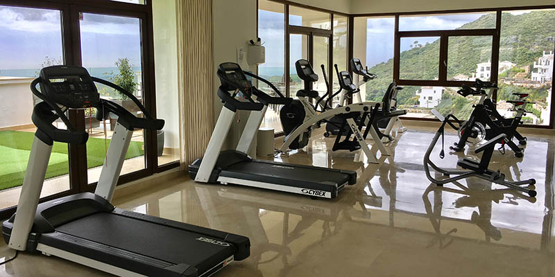 Gym in Benahavis Hills equipped with Cybex cardio and weight training equipment