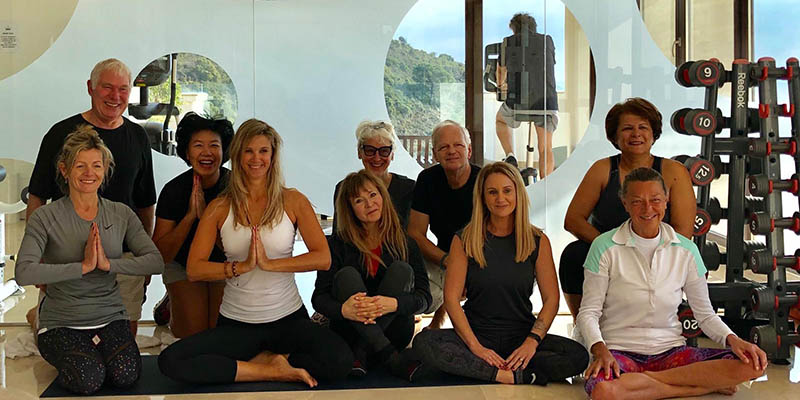Yoga class members in Benahavis Hills Gym & Fitness centre