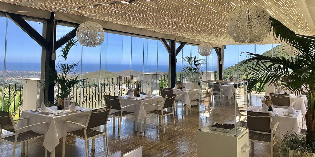 Benahavis Hills indoor restaurant facilities with sea views